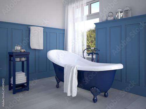"""klassisches badezimmer mit dekoration in blau"""" stockfotos und, Hause ideen"""