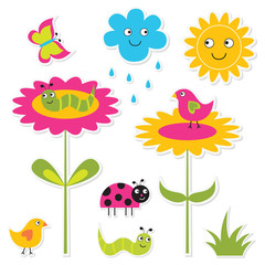 Nature stickers set, isolated design elements