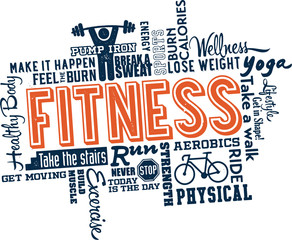 Fitness Word and Icon Cloud