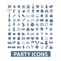 party, birthday, celebration icons set, vector