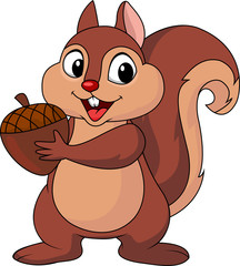 Squirrel cartoon with nut