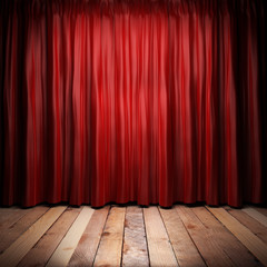 red fabric curtain on stage - fototapety na wymiar