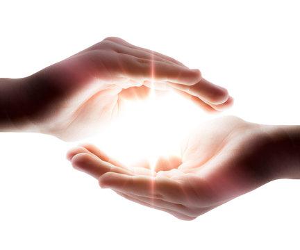 light in his hands