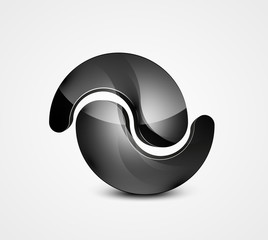 Abstract black shape vector business symbol