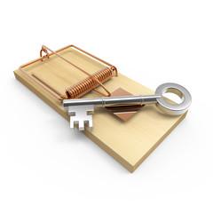 SIlver key on mousetrap