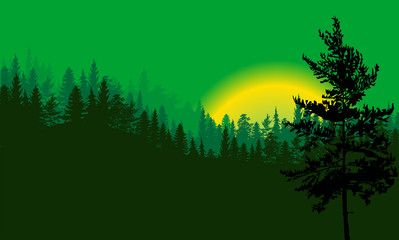 green forest and black tree illustration