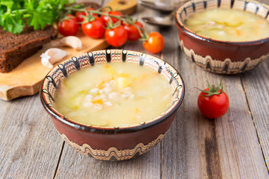 Russian cuisine: meat soup with pickled cucumbers