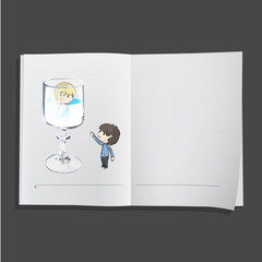 Two friends and one glass inside a book.