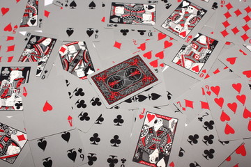 backside playing card with random cards background