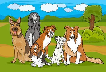 Poster Dogs cute purebred dogs group cartoon illustration