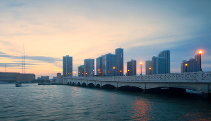 City of Miami Florida,  sunset panorama of downtown business and residential buildings and bridge