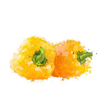 Yellow sweet peppers  of blots vector