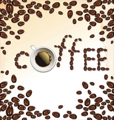 Coffee beans and cup of coffee background isolated on white