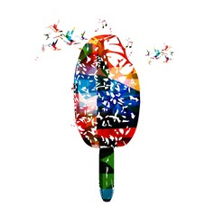 Colorful vector ice-cream background with hummingbirds