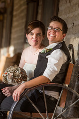 Newlywed Couple on Antique Bench