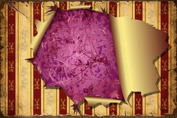 Printed kitchen splashbacks Vintage Poster 3D Aufgerissene Tapete - violetter Untergrund