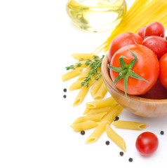 fresh tomatoes, penne pasta, spaghetti and spices isolated