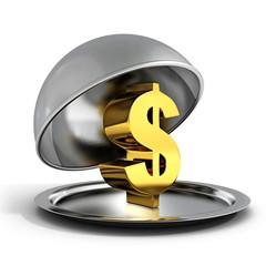 golden dollar sign on silver platter tray