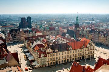 Obraz Wrocławski ratusz z lotu ptaka - fototapety do salonu
