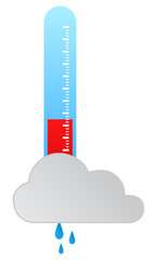 Thermometer Indicating Rainy Weather