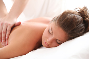 Beautiful caucasian woman enjoy massage
