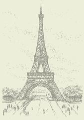Foto op Canvas Illustratie Parijs Vector landmark. Eiffel Tower in Paris. France