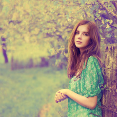 Vintage photo of beautiful girl in spring
