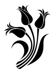 Black silhouettes of tulips. Vector illustration.