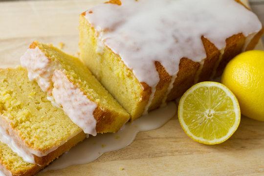 Lemon Loaf Sliced Closeup