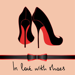 Background of black pair of shoes