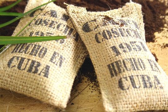 Burlap sacks of Cuban coffee
