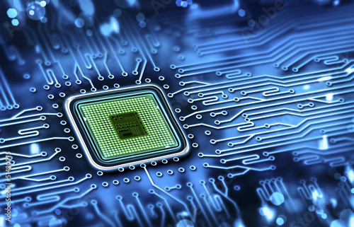Fototapete microchip integrated on motherboard