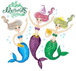 Three cute, funny mermaids.