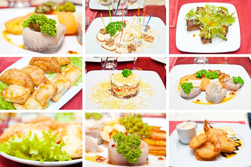 Collage of different appetizers