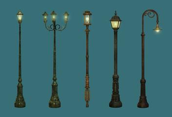 Five Street Lamps Fotomurales