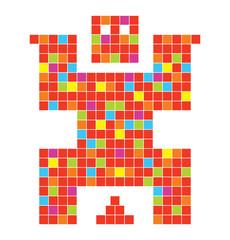 Fotobehang Pixel Coll pixel character illustration in vector
