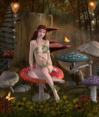 Foto op Aluminium Feeën en elfen The secrets of the wood - Beautifu fairy sits on a mushroom