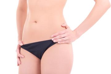attractive female body in black panties