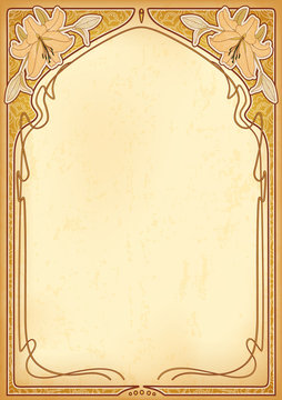 Art nouveau frames with space for text on old paper. Eps10