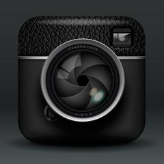 Total black photo camera icon, vector Eps10 illustration.