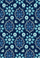 navy floral bandana vector ~ seamless background