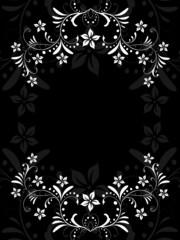 floral, silhouette, rahmen, deko, dekorativ, alt, ornament ,