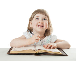 Little child with a pen and a book