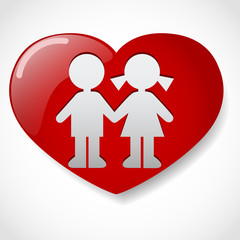 Boy and girl in the heart icon