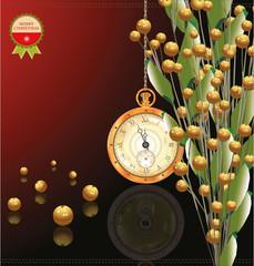 Gold bubble christmas decoration vector illustration