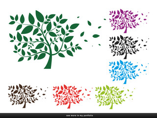 Tree with leaves - silhouette,plant,forest