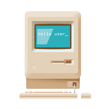 Hello user message on vintage computer. concepts: modern technologies, social media networking, online messaging, chats and messengers etc.