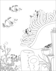 clown fish with corals. coloring book