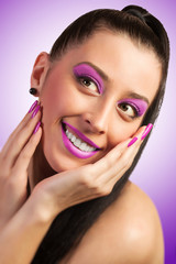 fashion model with pink make-up