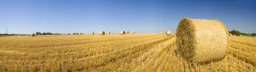 Hay bales, Idyllic rural landscape.